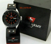Swiss Army 2378 Silver Red Leather
