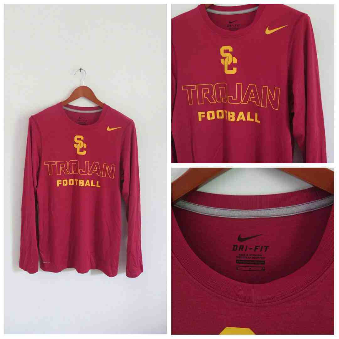 Jual Kaos Nike Baru Long Sleeve Seri American Football Sepatu Warna Merah Collague Original Team Sc Trojan