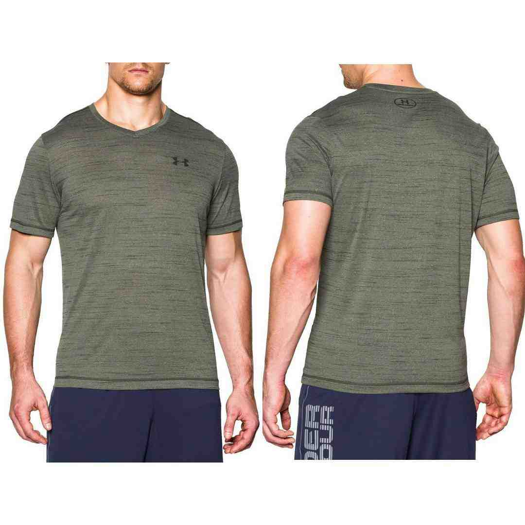 Jual Kaos Under Armour Heatgear V-Neck Tshirt Dark Green Metallic ... 79f2718262