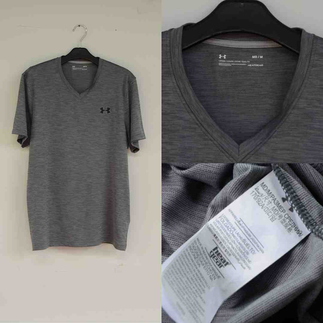 Jual Kaos Under Armour Heatgear V-Neck Tshirt Grey Original Baru ... 5813d50e0b