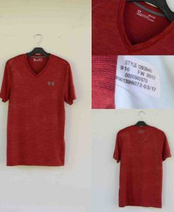 Under Armour Heatgear V-Neck Tshirt Maroon Original