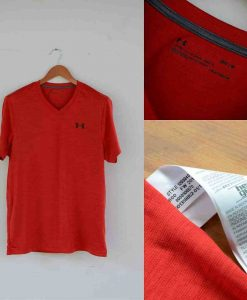 Under Armour Heatgear V-Neck Tshirt Red Original